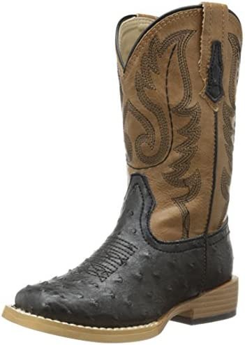 Roper Square Toe Faux Ostrich Western Boot Toddler Little Kid Black Brown 9 M US Toddler product image