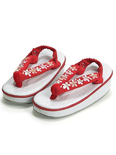 [ 京都きもの町 ] 草履 単品 女児 三歳用 赤×桜の 刺繍 鼻緒 白ラメ台 草履 かかと止め付き