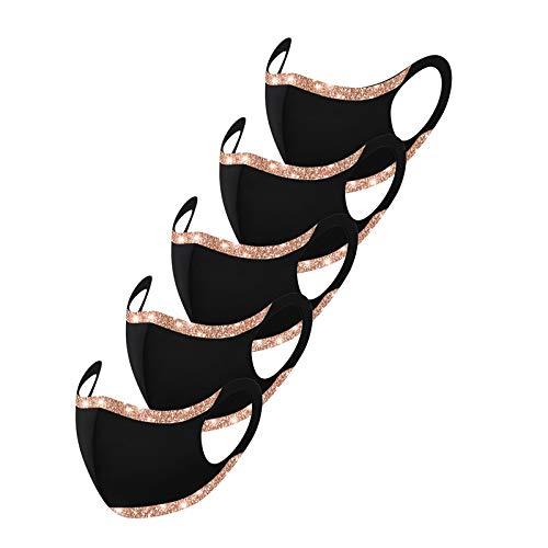 Erwachsene Mundschutz Multifunktionstuch, Einfache Glitzer Paillette Maske, Weiche Nahtlos Atmungsaktive Eisseide Stoffmaske Waschbar Wiederverwendbar Staubdicht Mund-Nasenschutz Bandana Halstuch