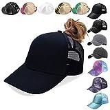 NeuFashion Ponycap Messy High Bun Ponytail Adjustable Mesh Trucker Baseball Cap Hat, Black, One Size