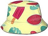 Sombreros de Cubo Transpirables con Parte Superior Plana Unisex Jungle Elephant Zebra Tiger Bird Sombrero de Pescador de Verano Sombrero de Pescador-Helado Sandía Hojas de Fresa-Talla única