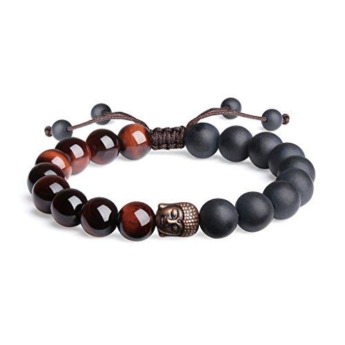 coai Bracelet Ajustable Tête de Bouddha Amulette Onyx Noir Mat Œil de Tigre Rouge Homme