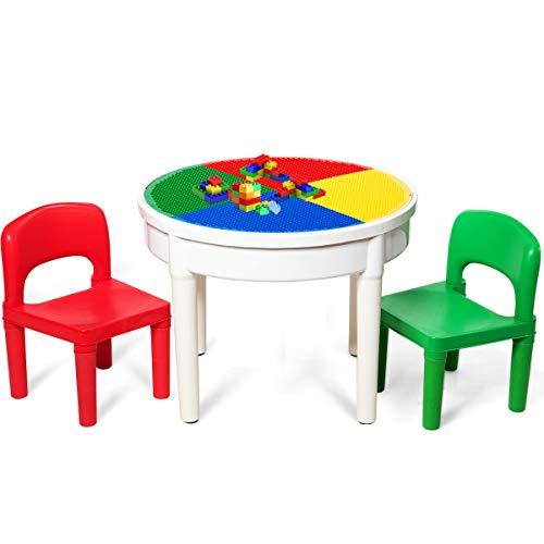 COSTWAY Kinder Tischset mit Staufach, Sitzgruppe Kinder, 3tlg. Kindersitzgruppe, Spieltischset bestehend aus 2 Stühlen und 300 kleinen Blöcken, Bausteintisch für Kinder