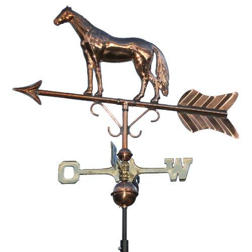 Linneborn 3D Wetterfahne, Wetterhahn Motiv Pferd aus Kupfer inkl. Befestigung. Windrichtungsanzeiger Windspiel