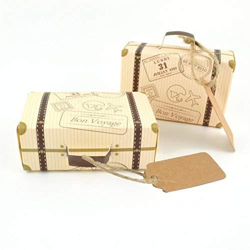LOOEST 10 Set Mini Valigia Design Candy Candy Box Imballaggio Cartone Chocolate Box Wedding Gift Box con la Carta for Il Partito di Evento Gift (Color : 1)
