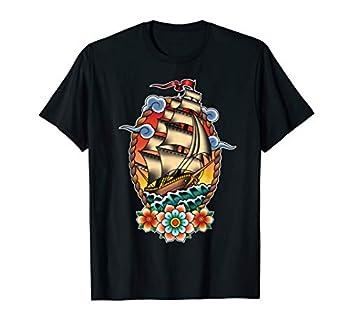 Old School American Traditional Tattoo flash Clipper Ship T-Shirt