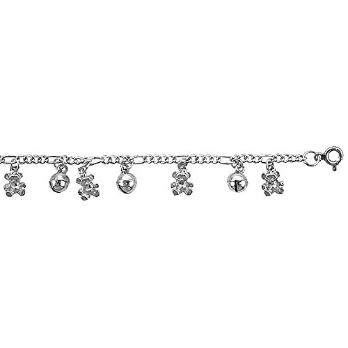 Cavigliera a maglia Figaro in argento Sterling, con orsetto &-Palla con campanellini Charms