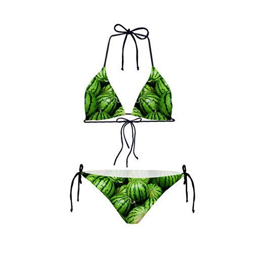 Shinelly 3D-print, eenvoudig patroon, damesbikiniset, tweedelige badpak met push-up crossover bikinitop en triangelbikinibroek, sexy houder, badmode bikini-sets