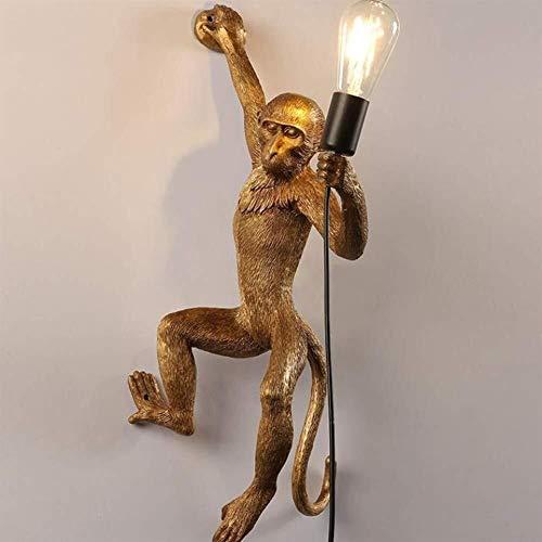 GYYLUCKY wandlamp aap rechts goud aap wandlamp decoratief slaapkamer LED zwart bedlampje hars modern aap