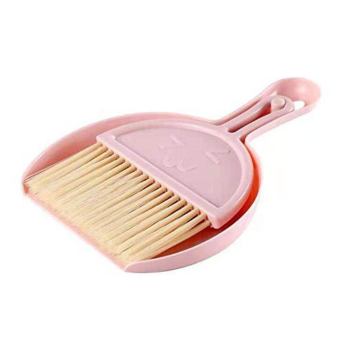 AMZLL Juego de 2 mini escobas, mini escoba y recogedor de plástico, polvo pequeño con cepillo de limpieza, para camping, teclado, mesa, agujeros de ventana, gato, perro (rosa)