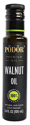 PÖDÖR Premium Walnut Oil - 3.4 fl. Oz. - Cold-Pressed, 100% Natural, Unrefined and Unfiltered, Vegan, Gluten-Free, Non-GMO in Glass Bottle