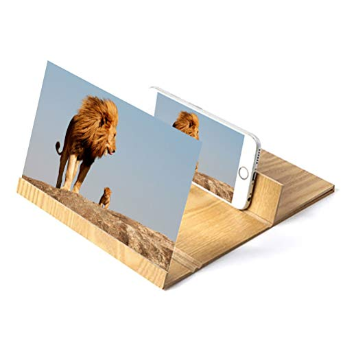 Dafang Screen Magnifier,12'' Screen HD Movie Video, Wood Grain Foldable Mobile Phone Screen...