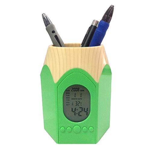 [クイーンビー] ペンスタンド 目覚まし時計 かわいい 鉛筆 型 ペン 立て ホルダー 置き 時計 温度表示 カレンダー アラーム デスク オフィス 事務 用品 多機能 (グリーン)
