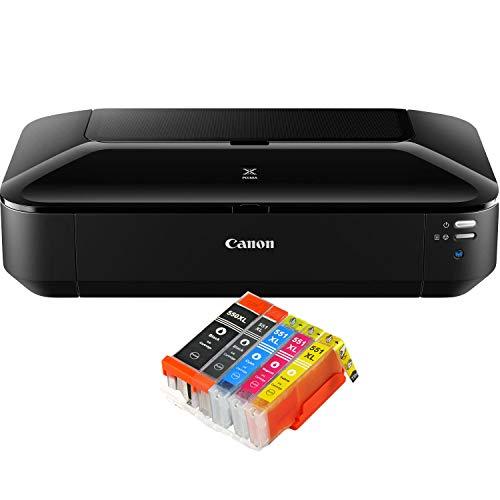 Canon PIXMA iX6850 Drucker Farbtintenstrahl Drucker DIN A3+ (Bürodrucker, Fotodruck, Textdruck, 9.600 x 2.400 DPI, WiFi, WLAN, USB, Direktdruck, Print App) schwarz + 5 kompatiblen XL Patronen