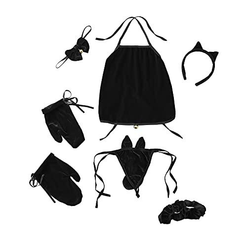 Lenfeshing Conjunto de Cosplay de Gato Sexy para Mujer Ropa Interior de Uniforme de Terciopelo Lindo Color Puro