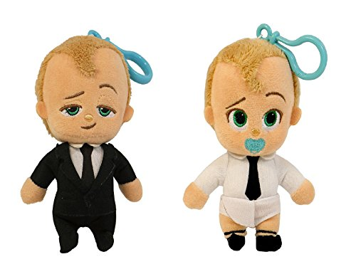 Commonwealth Toy Set of 2: DreamWorks The Boss Baby - The BOSS Baby Backpack Clip Diaper Plush 4' and The BOSS Baby Backpack Clip Suit Plush 4' - from The 2017 DreamWorks Movie