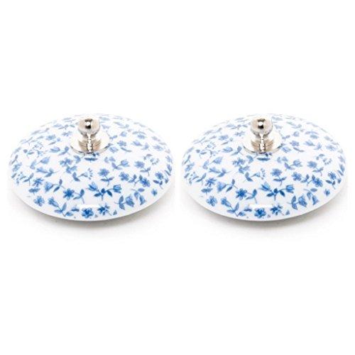 Tapón Lavabo, bañera y Bidet Universal Decorado 2 uds Porcelana Tapiz Azul