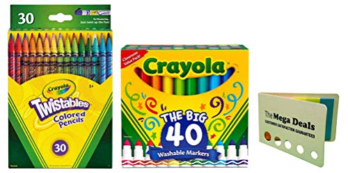 Crayola Ultra-Clean Washable Broad Line Markers, 40 Classic Colors | Crayola Twistable Colored Pencils, 30 Count | Includes 5 Color Flag Set
