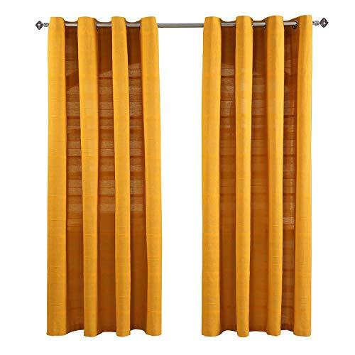Homescapes handgewebter Vorhang Rajput im 2er Set in Senfgelb, 140 x 140 cm (Breite x Länge), Ösenvorhang/Vorhänge in RIPP-Optik aus 100prozent Reiner Baumwolle, Dekoschal