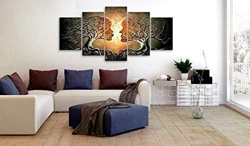 PLjVU Decoración para el hogar Lienzo 5 Piezas árbol de Besos Rojo Azul Amarillo Imagen de Amor impresión Cartel Abstracto Arte de Pared de habitación Modular-Sin Marco