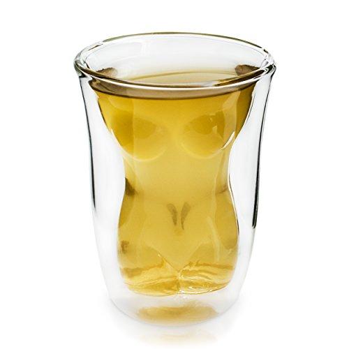Verre à cocktail Grinscard - Design « Liquid Lady » - Double paroi - Transparent - Environ 150 ml - Pour bar et fêtes