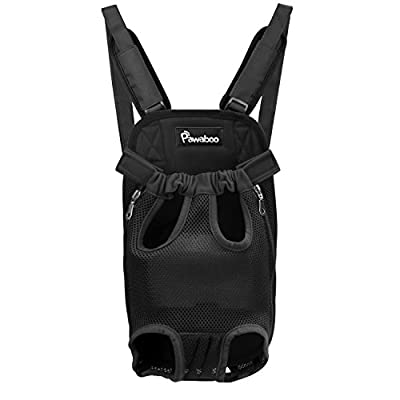 Pawaboo Pet Carrier Backpack, Adjustable Pet Front Cat Dog Carrier Backpack Travel Bag, Legs Out, Easy-Fit for Traveling Hiking Camping for Small Medium Dogs Cats Puppies, Small, Black