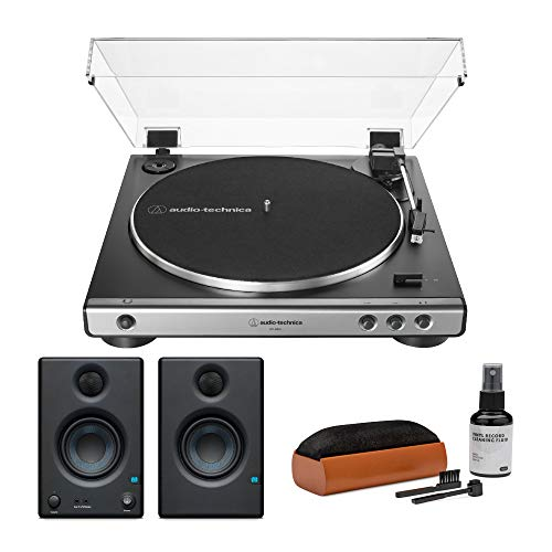 Audio-Technica AT-LP60X Gunmetal Fully Automatic Belt-Drive Stereo Turntable with Studio Monitor and Care System Package Bundle (3 Items)
