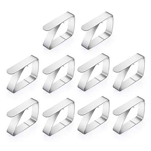 Ulikey 10er Edelstahl Tischdeckenklammer, Cuisine Tischtuchhalter, Tischtuchklammern Tischdecke Clips (1.5mm) Edelstahl(Größe: 6,5 x 1,5 x 5 cm)