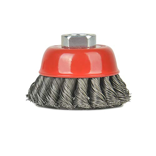 Aain 4 Pack Knotted Steel Cup Brush 12500 rpm, 3 Inch Twisted Wire Cup Brush, Red