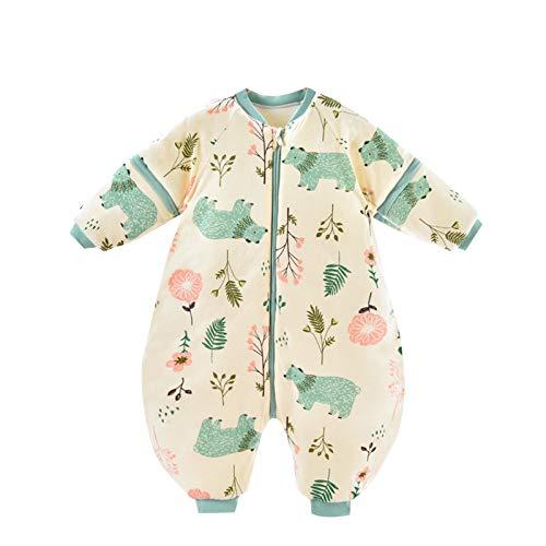 H.eternal(TM) Mameluco de manga larga para bebés y niños y niñas, grueso de dibujos animados, bolsa de dormir lindo traje de una sola pieza