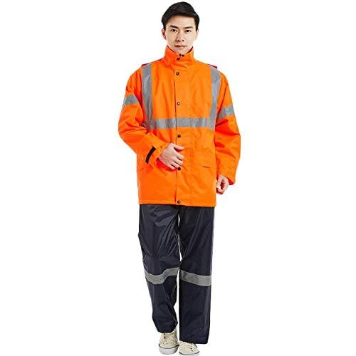 Veste à Capuche Pliable Imperméable Imperméable Femmes/Hommes Veste Pantalon Ensemble Pluie Poncho Rainsuit-Orange_XXL