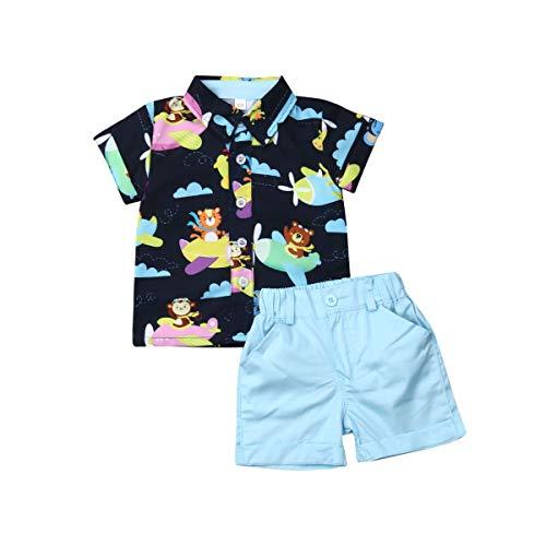 Bebé Niño Traje de 2 Piezas Conjunto Top Camisa de Manga Corta Pantalón Corto Camiseta con Estampado Infantil Ropa Verano de Playa para Vacaciones (Animal, 12-18 Meses)