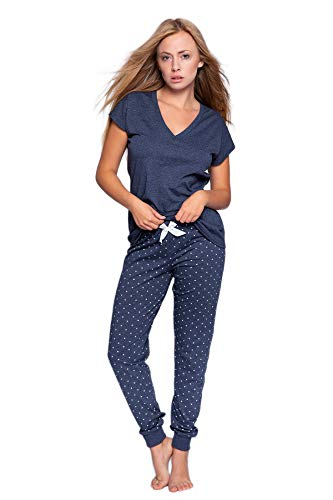 SENSIS stillvoller Baumwoll-Pyjama (Made in EU) Schlafanzug Hausanzug aus feinem T-Shirt und bequemer Hose, Gr. XL (42), Dunkelblau/Weiß mit Punkten