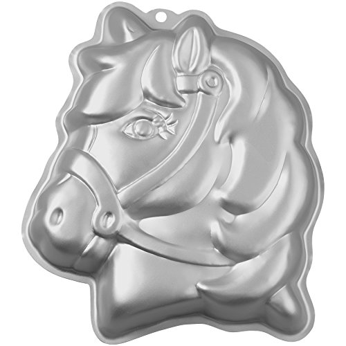 Wilton 3-D Pony Cake Baking Pan, Makes Perfect Horse or Unicorn Party Cake for Birthdays, Race Day Parties and School Celebrations, Includes Decorating Instructions, Aluminum (10.5