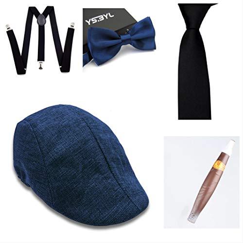 thematys Cappello Gangster Mafia al Capone + Farfallino + Bretelle + Cravatta + Sigaro - Set Costumi Anni '20 per Donne e Uomini - Perfetto per Carnevale (3)