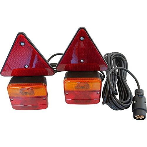 mb-m 904283 Rückleuchten-Set verkabelt mit Magnetfuß und Rückstrahler, für Anhänger, 6,5m Kabel, 7-poliger Stecker, Anhängerbeleuchtung für Straßenverkehr zugelassen