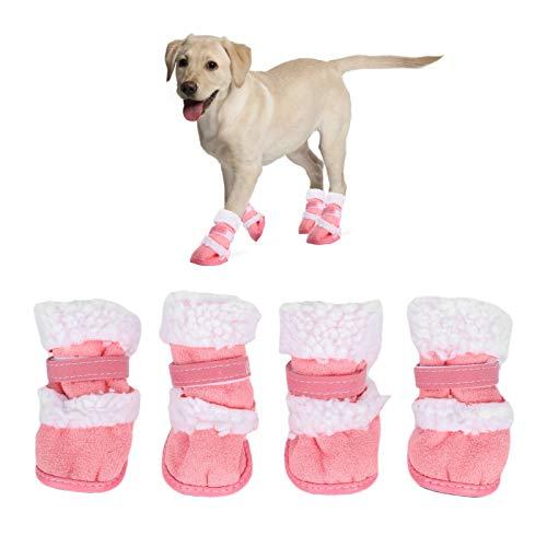 Botas de Nieve para Mascotas, Protector de Pata de Perro Suave y cálido Zapatos de Invierno para pies de Perro con Cierre de Gancho para Perros Gatos Cachorros Gatitos(No.5-Rosado)