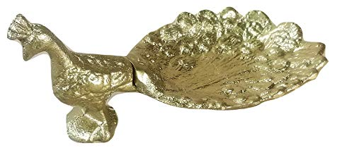 Golden Cast Iron Peacock Jewelry Bowl or Soap Dish