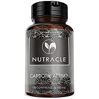 NUTRACLE - 100 Tabletas de Carbón Vegetal Activado de 500 mg | Elimina gases intestinales, Combate la Inflamación del Vientre y el Meteorismo