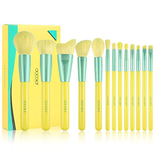 Docolor Makeup Brushes 13Pcs Lemon Makeup Brush Set Premium Synthetic Kabuki Foundation Blending Face Powder Mineral Eyeshadow Make Up Brushes Set