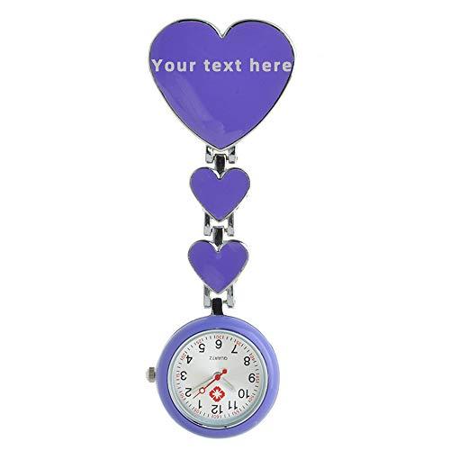 Reloj personalizado para enfermeras FOB con forma de corazón, aleación, epoxy, texto grabado para enfermeras médicas, talla única, aleación,