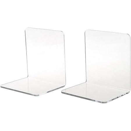 Wanfor articoli di cancelleria per ufficio 2 fermalibri in acrilico trasparente a forma di L organizer da scrivania per libri