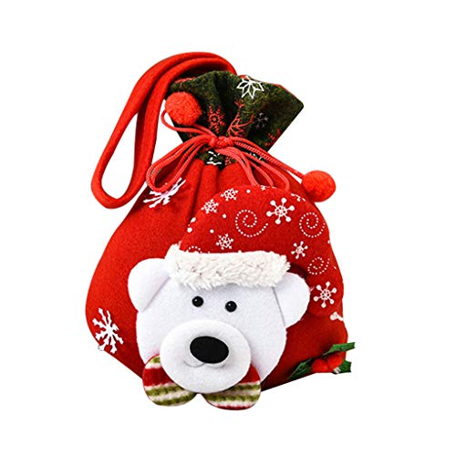 Mingbai Christmas Fabric Gift Bag, Gift Candy Pack Sack, Xmas Tree Decorations, Kids Party Favor Ornaments, Christmas Bags with Drawstring Reusable Santa Bags (B)