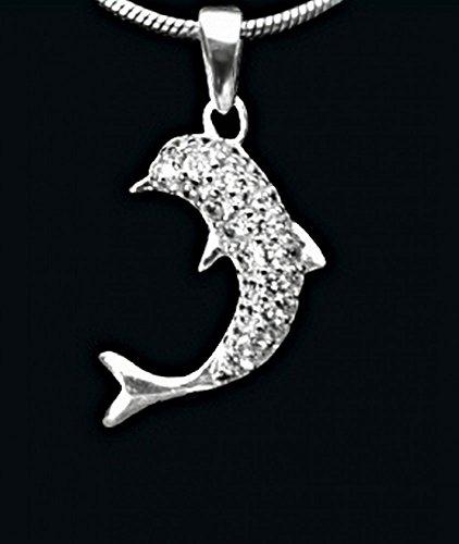 ASS 925 Silber ANHÄNGER Delphin Delfin Glücksbringer mit Zirkonia weiß