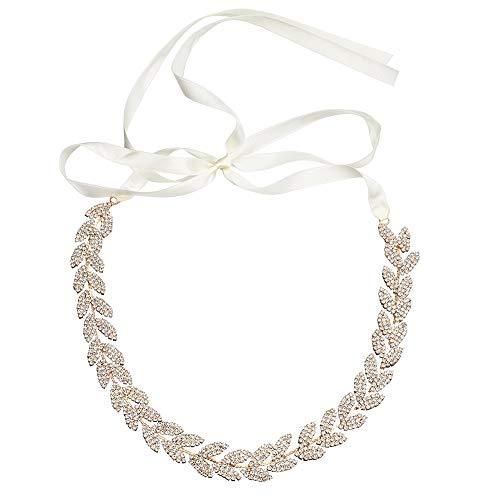 Ulalaza Mujeres Prom Noche Vestido Decorativo Cintura Novia Cristal Fajas cinturón de Boda Faja con Piedras de Rin