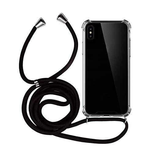 MyGadget Funda Transparente con Cordón para Apple iPhone XS MAX - Carcasa Cuerda y Esquinas Reforzadas en Silicona TPU - Case y Correa - Negro