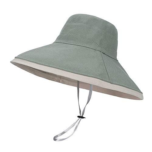 LACOFIA Sombreros de Sol para Mujer de ala Ancha Gorra de Playa para Mujer Viseras de Verano Plegables para Exteriores con Cuerda a Prueba de Viento Verde Chiaro