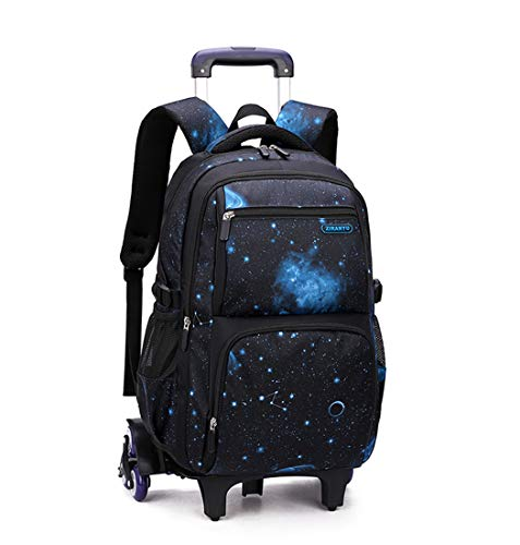 Bansusu Galaxy Prints Black Rolling Backpack for Primary Middle School Boys Bookbag Satchels on Six Wheels