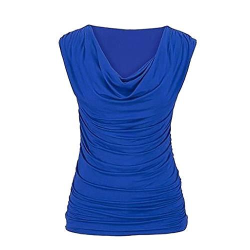 T-Shirt Femme, YUYOUG Mode Haut Blouse Stretch sans Manches à col roulé et col froncé pour Femme (XXX-Large, Blue)