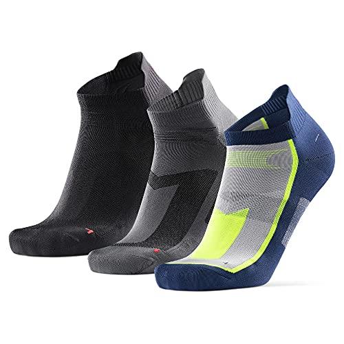 DANISH ENDURANCE Calcetines de Deporte Low Cut Pack de 3 (Multicolor: 1 x Negro, 1 x Gris, 1 x Azul/Amarillo neón, EU 39-42)